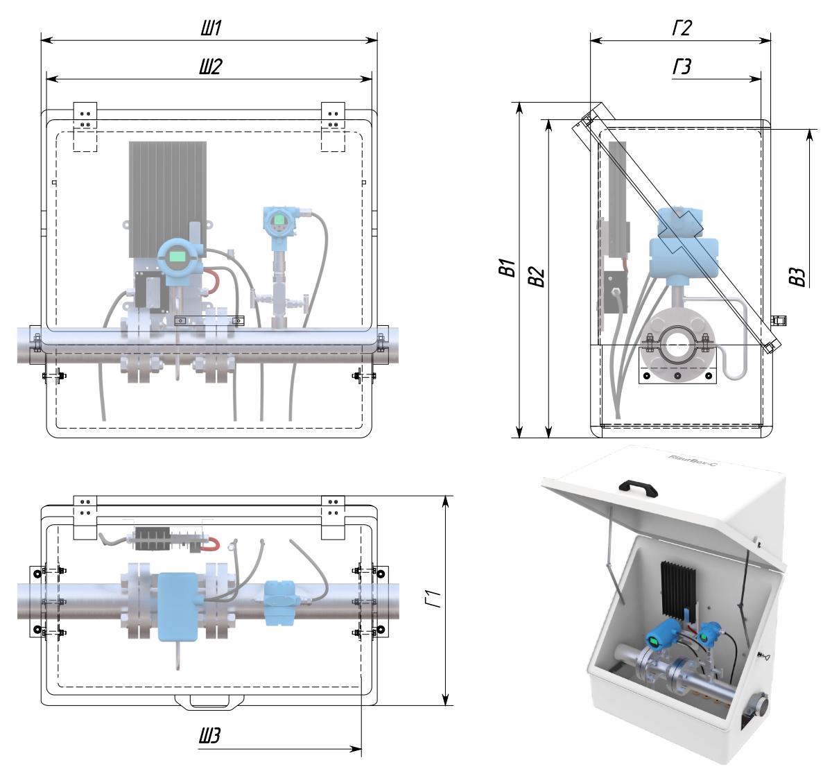 Термошкафы стеклопластиковые РизурБокс-С (RizurBox-C) диагонального раскрытия с поддоном