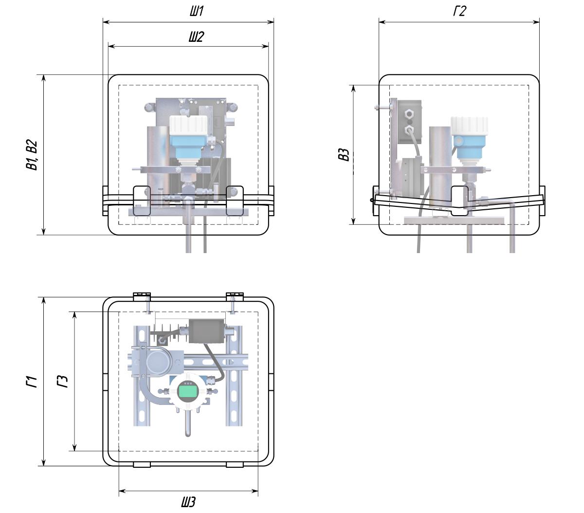 Термошкафы стеклопластиковые РизурБокс-С-U (RizurBox-C-U) горизонтального раскрытия