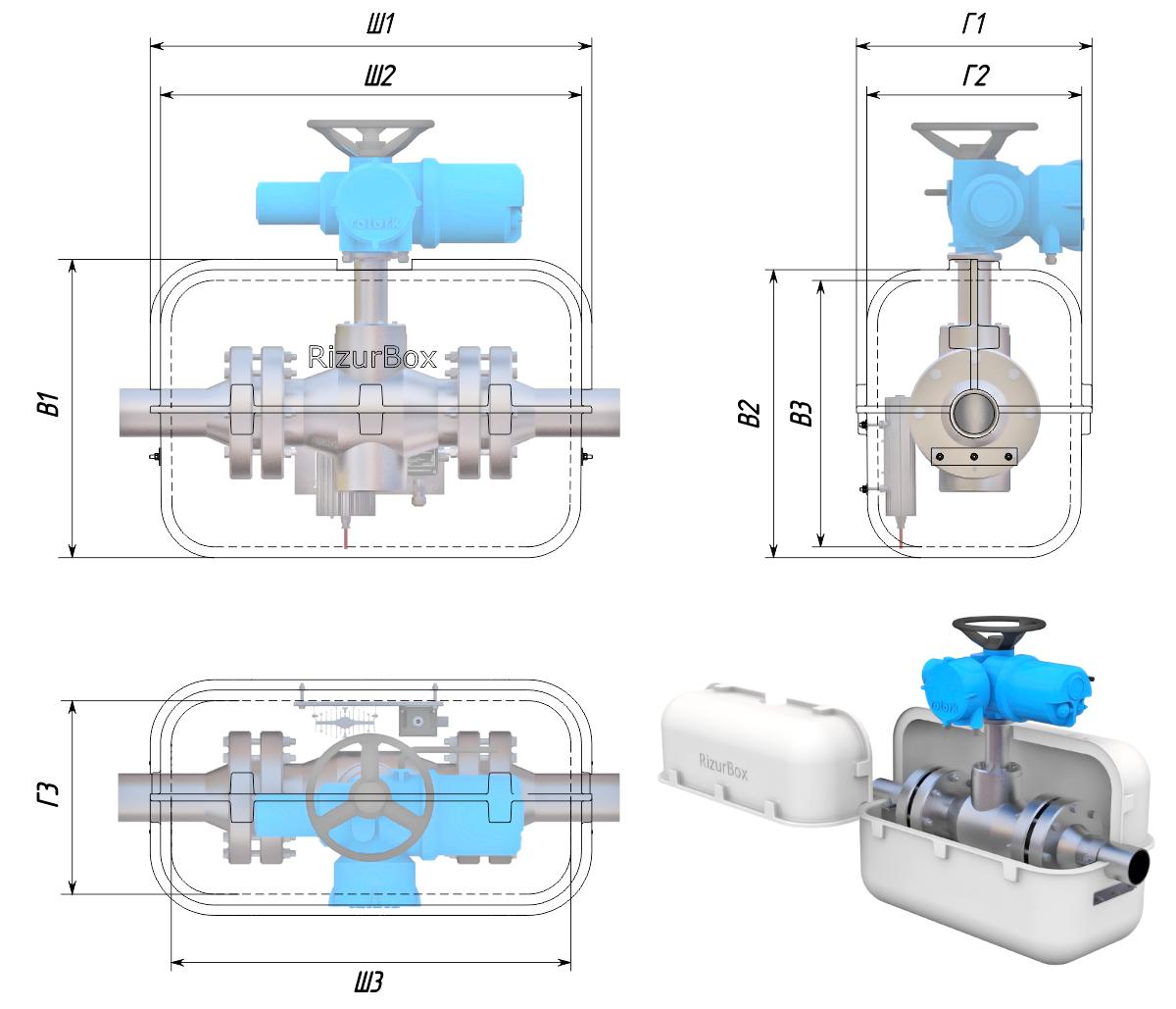 Термошкафы стеклопластиковые РизурБокс-С (RizurBox-C) разъёмные