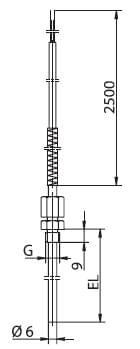 Ввинчивающийся термоэлемент с подвижным технологическим присоединением M10 x1, внеш.резьба